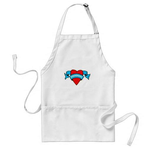 I heart swimming tattoo standard apron
