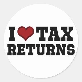 I Heart Tax Returns Classic Round Sticker