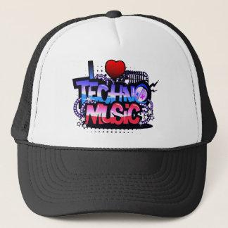 I Heart Techno Music Trucker Hat
