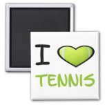I heart Tennis Square Magnet