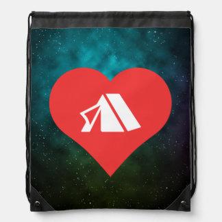 I Heart Tents Icon Drawstring Backpacks