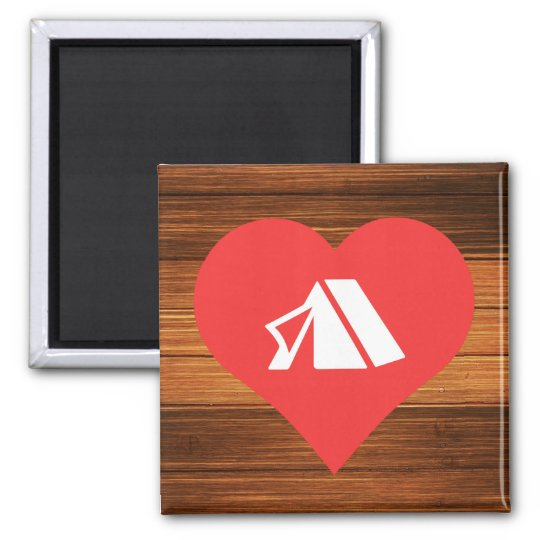 I Heart Tents Icon Square Magnet