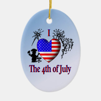 I Heart the 4th of July Christmas Ornament