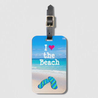 I Heart the Beach Flip Flops in the Sand Luggage Tag