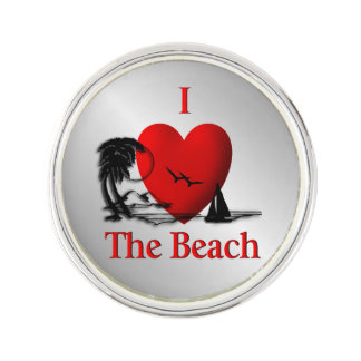 I Heart The Beach Lapel Pin
