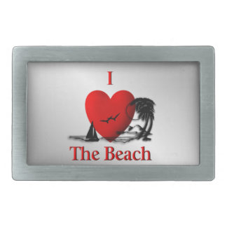 I Heart The Beach Rectangular Belt Buckle