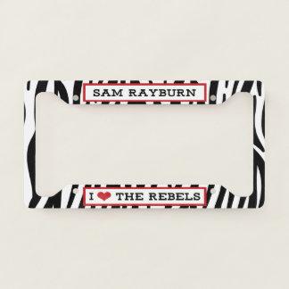 I Heart The Rebels Zebra License Plate Cover