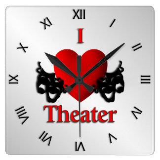 I Heart Theater Roman Numerals Square Wall Clock