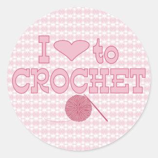 I heart to Crochet Round Sticker
