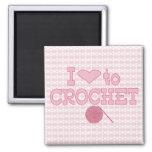 I heart to Crochet Square Magnet