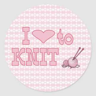 I heart to knit classic round sticker
