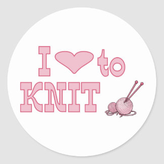 I heart to knit round sticker