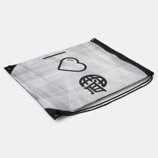 I Heart Travelling Abroads Drawstring Bag