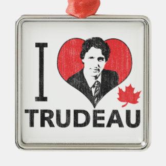 I Heart Trudeau Silver-Colored Square Decoration