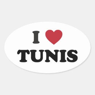 I Heart Tunis Tunisia Oval Sticker
