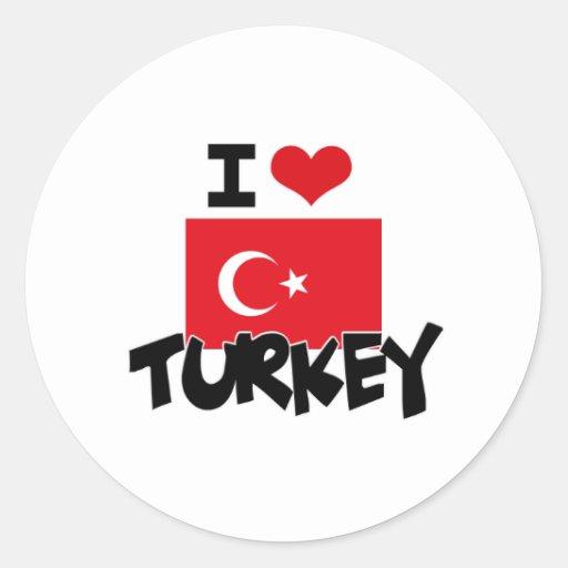 I HEART TURKEY ROUND STICKER