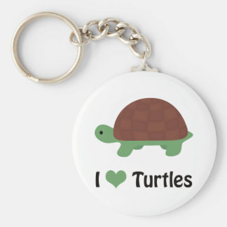 I heart turtles! basic round button key ring