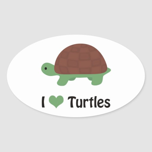 I heart turtles! stickers