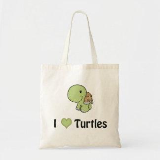 I heart turtles tote bag