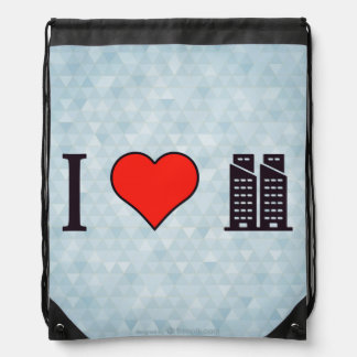 I Heart Twin Towers Drawstring Bags