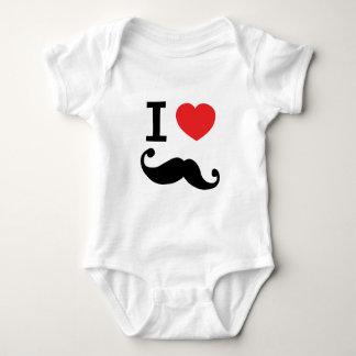 I heart twirly Moustache Baby Bodysuit