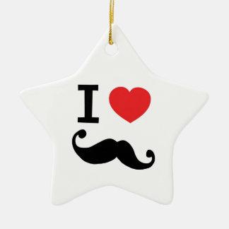 I heart twirly Moustache Christmas Ornament