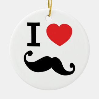 I heart twirly Moustache Christmas Ornament