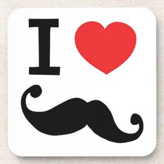 I heart twirly Moustache Coaster