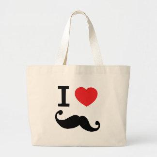 I heart twirly Moustache Large Tote Bag