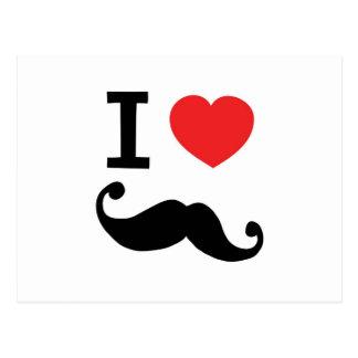 I heart twirly Moustache Postcards