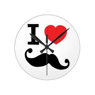 I heart twirly Moustache Round Clock