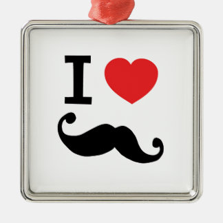 I heart twirly mustache christmas ornament