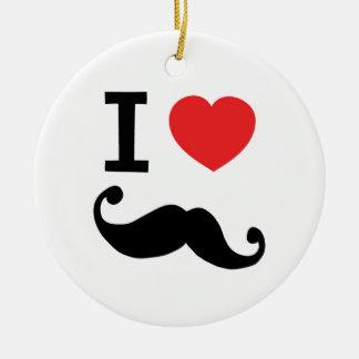 I heart twirly mustache round ceramic decoration