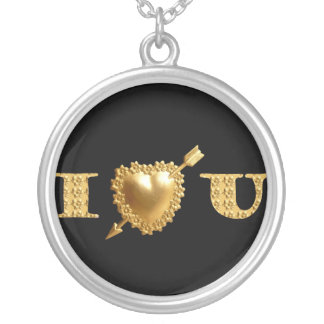I Heart U in Gold Necklace