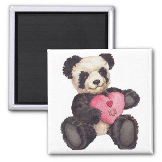 I Heart U Panda Square Magnet