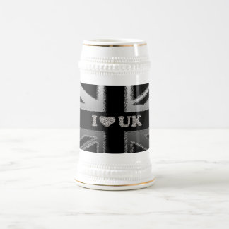 I Heart UK Black and Silver Union Jack Flag Beer Stein