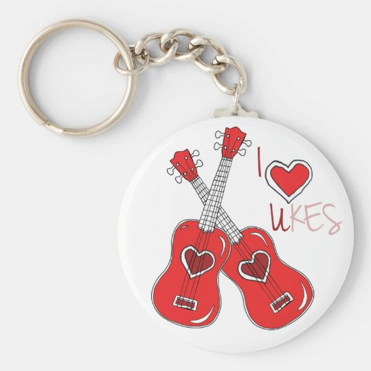 I heart ukes I love Ukuleles Basic Round Button Key Ring