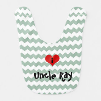 i heart uncle grey jade chevron personalised bib