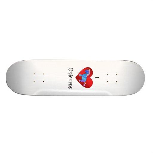 I heart unicorns in blue pink and orange skate board decks