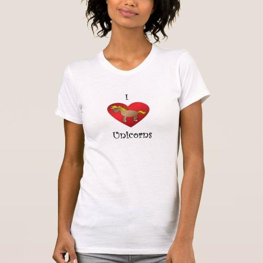 I heart unicorns in brown T-Shirt