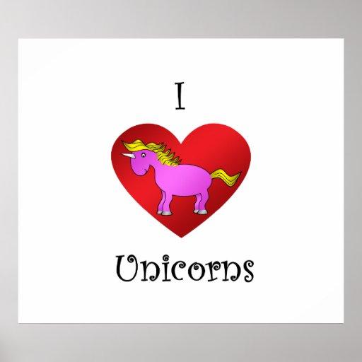 I heart unicorns in dark pink gold fade print