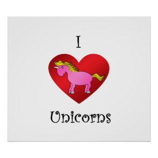 I heart unicorns in pink and gold posters