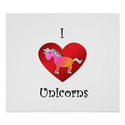 I heart unicorns in pink and orange posters