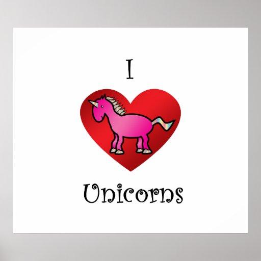 I heart unicorns in pink and rainbow print