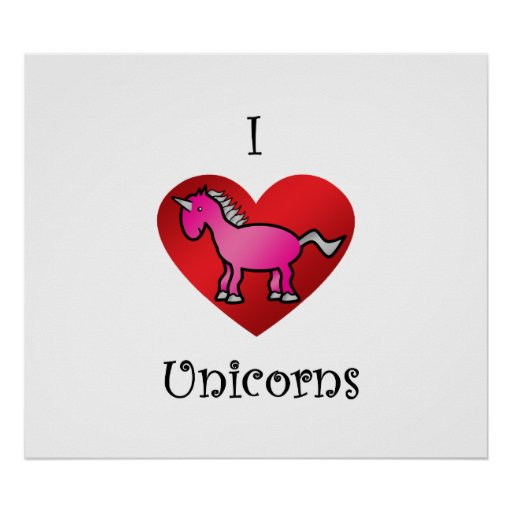 I heart unicorns in pink and silver posters