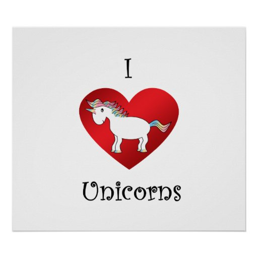 I heart unicorns in white pink yellow blue posters