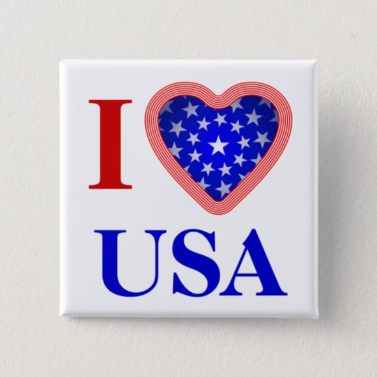 I Heart USA 15 Cm Square Badge