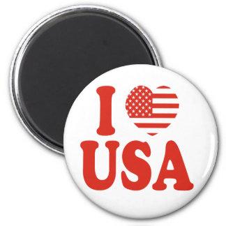 I Heart USA 6 Cm Round Magnet