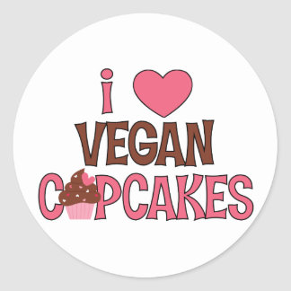 I Heart Vegan Cupcakes Classic Round Sticker