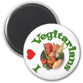 I Heart Vegetarians 6 Cm Round Magnet